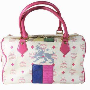 Vintage MCM White Pink Visetos Monogram Boston Bag